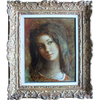 Guy CAMBIER (b1923-2008) Belgian French School Portrait Oil Painting.