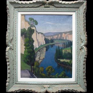 Jean FERNAND-TROCHAIN (1879-1969) French Art Deco Landscape Oil Painting