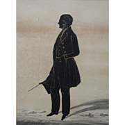 Full Length Portrait Miniature Silhouette Regency Period  c1820