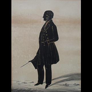 Full Length Portrait Miniature Silhouette Regency Period  c1820
