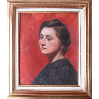 Meurisse Franchomme French School Portrait 1896 Oil Painting