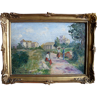 "Eugène SELMY (1874-1945) French Post Impressionist ""Chaperone 1917"" Oil Painting"