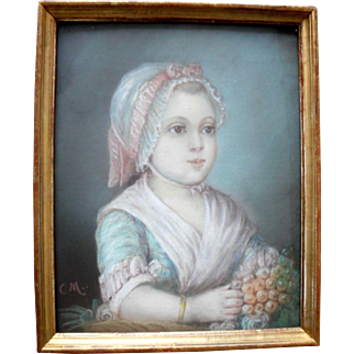 French School Oil Pastel c1820 Signed with Initials CM