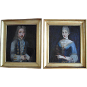 French School c1720 A Pair of Aristocrats. Oil Painting.