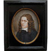 English School Portrait Miniature on Vellum c1660