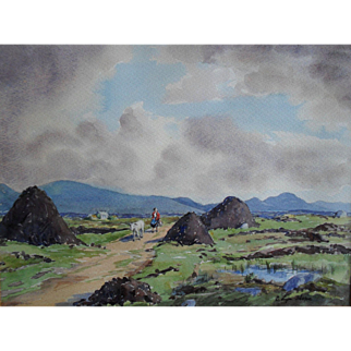 E. Lyn HOPE RHA (act.c.1940-1958) Irish Watercolour Painting, Bog at Dore.