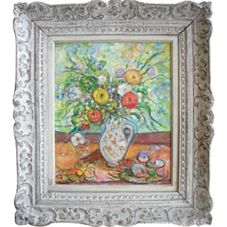 Initialled LV French Post Impressionist / Fauvist Floral Oil Painting