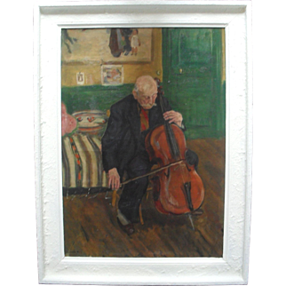 Lucienne FLEURY-D'HERBEZ The Cellist French School Oil Painting.
