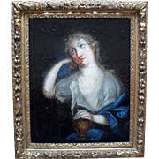 Penitent Magdalene c1750 French School Oil Painting