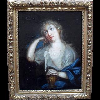 Penitent Magdalene c1750 French School Oil Painting