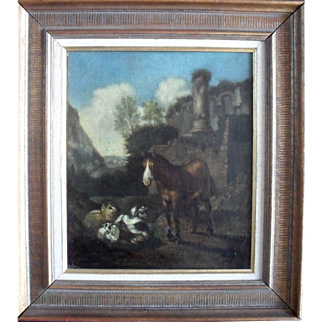 Neoclassical Landscape 18th Century  French School Oil Painting.