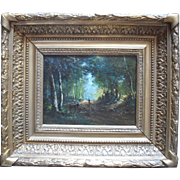 Barbizon School Landscape circa 1860. Indistinctly Signed. Oil Painting