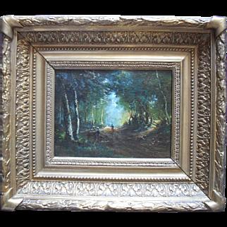 Barbizon School Landscape circa 1860. Indistinctly Signed. Oil Painting