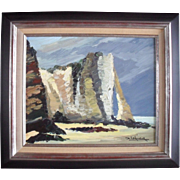 Jean LEVASSEUR (1935) Cliffs at Normandy, France. Oil Painting
