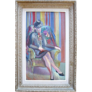 Nicolas Poliakoff (1899-1976) Art Deco Portrait 1930 Oil Painting