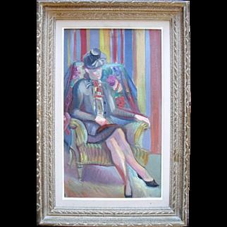 Nicolas Poliakoff (1899-1976) Art Deco Portrait 1930 Oil Painting