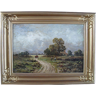 English School Landscape Signed and dated 1892 Oil Painting.