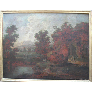 Dutch School c1640 Indistinctly signed. Landscape Oil Painting.