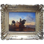 "French School c1840 Landscape Initialled CH. ""Les Lavandieres"" Oil Painting."