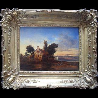 "French School c1840 Landscape Initialled CH. ""Les Lavandieres"" Oil Painting."
