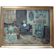 "French School  ""The Artist's Studio"" c1920 Art Deco Oil Painting."