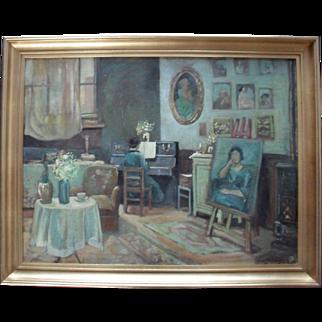 "French School  ""The Artist's Studio"" c1920 Art Deco Oil Painting."