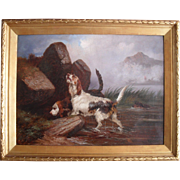Colin Graeme ROE (1858-1910) Otter Hounds in a Landscape 1890.Oil Painting