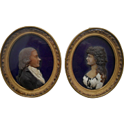 Pair of 18th Century Wax Relief  Portrait Miniatures Dated 1797