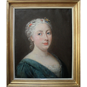 French School Portrait c1780. Oil Painting.
