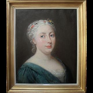 French School Portrait c1780. Oil Painting.