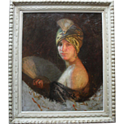 Augustine Louise Isnard French School 19th Century Portrait. Oil Painting.