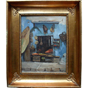 "French Oriental School ""Casa Porte Neuve 1884"" Oil Painting."