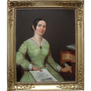 Opera Singer c1836 Links with Henri de Ruolz, Composer. French School Oil Painting.