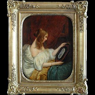 """French School. """"Femme au miroir  Janvier 1857"""" Oil Painting."""
