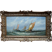 William Calcott Knell (1830-1880) Marine Oil Painting Lowestoft 1876.