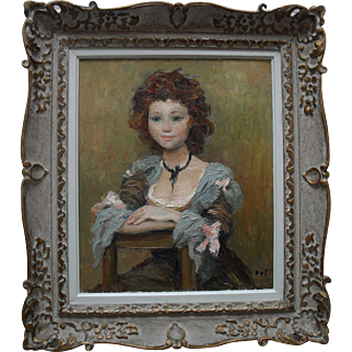 """Marcel DYF (1899-1985) """"Jeune Fille Assise"""" 1970 ID No 4998 Oil on Canvas."""