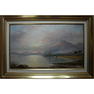 William Boswell Currie (1823-1894) Urquart Castle Loch Ness, Scotland.Oil Painting.