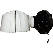 Vintage Bathroom Black Porcelain Wall Light Fixture w Black Decorated Shade