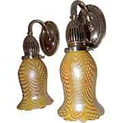Caldwell Cast Brass Silver Plated Sconces with Quezal Snakeskin Art Glass Shades