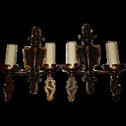 Large Double Arm Spanish Revival Wall Sconces - Pr.