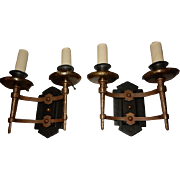 Pair Vintage Hammered Bronze & Iron Spanish Revival Style Wall Sconces
