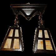 Arts & Crafts Pendant Light Fixture w Slag Glass Panel Shade
