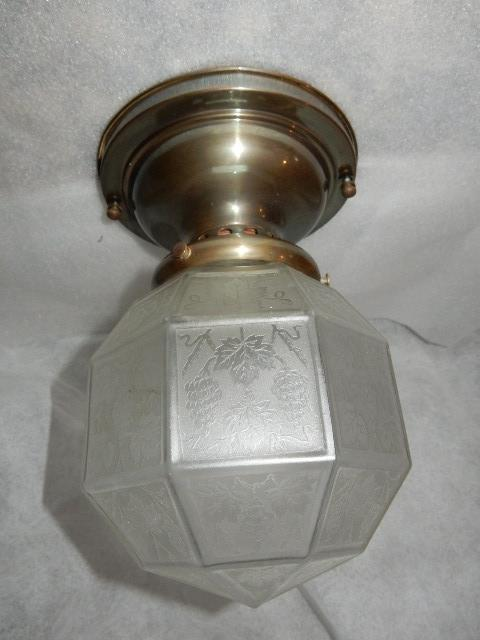 antique indoor outdoor brass arts crafts porch light fixture acid