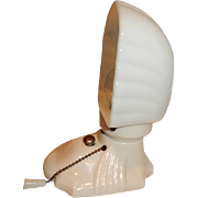 Pr. White Porcelain Bathroom Wall Sconces with Vintage Ribbed Shades