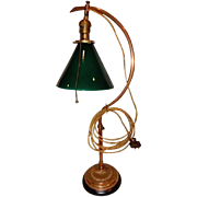 Early Adjustable Fairies Desk Lamp w Green Cased Cone Shade