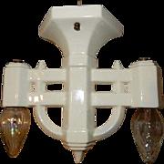 Vintage White 2-Light Porcelain Deco Subway Ceiling Fixture
