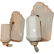 Pair Very Deco White Porcelain Wall Sconces