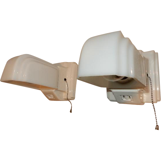 Pair Vintage Porcelain Bathroom Wall Sconces Milk Glass Shades W Pull From Midwestern Lamp