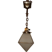 Arts & Crafts Brass Pendant Light Fixture w LARGE Frosted Shade
