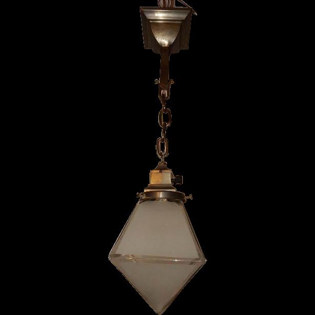 arts crafts brass pendant light fixture w large frosted. Black Bedroom Furniture Sets. Home Design Ideas